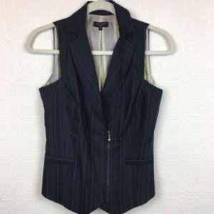 Ted Baker Womens Vest Navy Blue Zipper Stripe 2